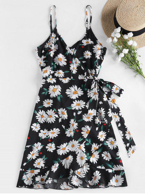 ZAFUL Daisy Print Flounce Wrap Dress - أسود S Mobile