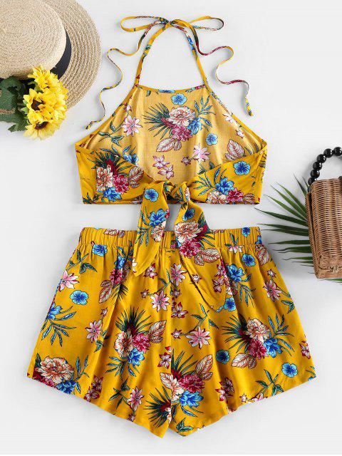 new ZAFUL Flower Halter Backless Knot Two Piece Set - BEE YELLOW M Mobile