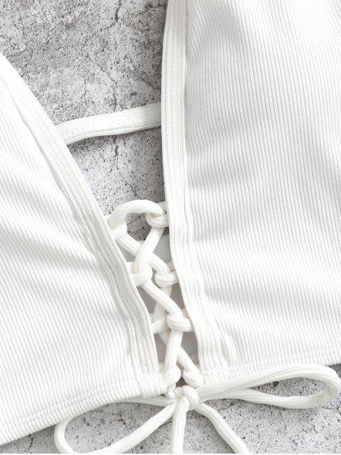 ZAFUL Maillot de Bain Tankini Côtelé Teinté à Coupe Haute à Lacets - Blanc 2XL Mobile