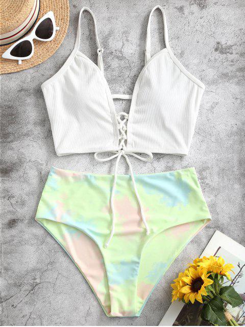 womens ZAFUL Ribbed Lace Up Tie Dye High Cut Tankini Swimwear - WHITE L Mobile