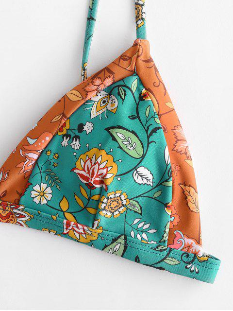 shops ZAFUL Bohemian Plant Print String Bikini Set - ORANGE GOLD M Mobile