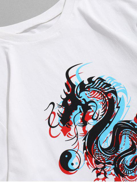 Maglietta di ZAFUL con Maniche Lunghe e Motivo a Drago - Bianca 2XL Mobile