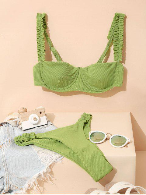hot Jessica Stockstill x ZAFUL Ribbed Frilled High Cut Bikini Swimsuit - LIGHT GREEN M Mobile