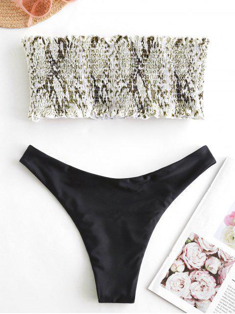online ZAFUL Snake Print Smocked Reversible Bikini Set - WHITE S Mobile