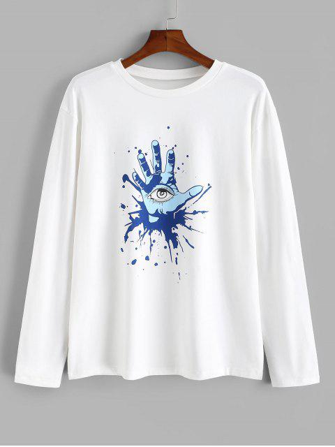 online Hand Eye Printed Long Sleeves T-shirt - WHITE 2XL Mobile