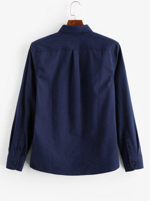 hot Solid Tiny Letter Print Long Sleeve Button Shirt - CADETBLUE M Mobile