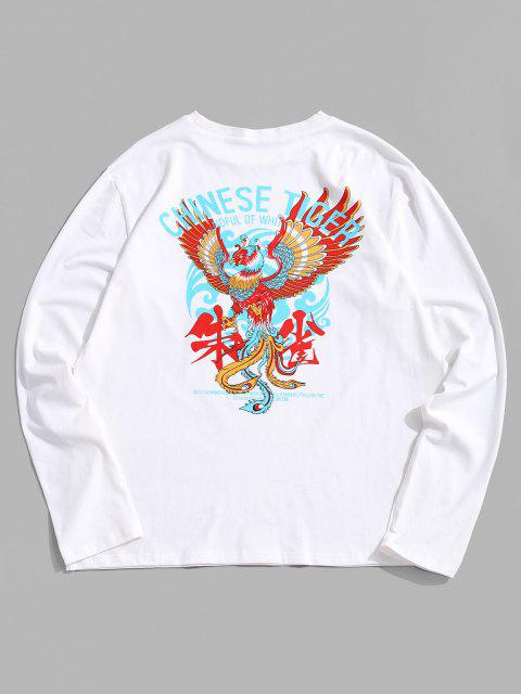 outfits ZAFUL Animal Graphic Print Long Sleeves T-shirt - WHITE S Mobile
