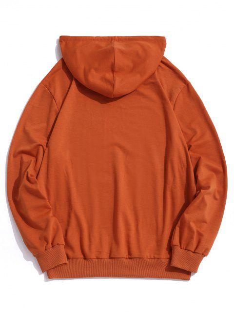 ladies Character Chinese Printed Pocket Hoodie - ORANGE M Mobile
