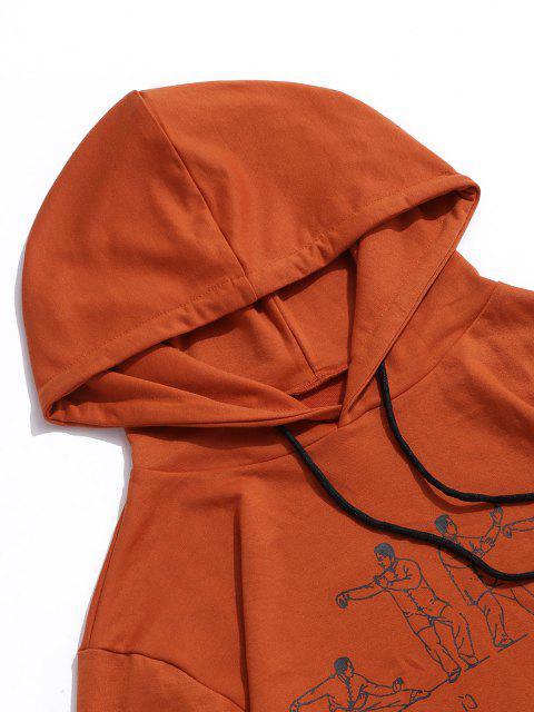 Sweat à Capuche Caractère Chinois Imprimé avec Poche - Orange L Mobile
