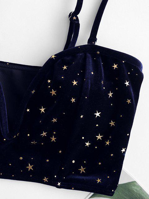 lady ZAFUL Velvet Glitter Starry V-wire Bikini Top - DEEP BLUE XL Mobile