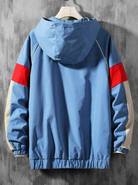 affordable Letter Print Colorblock Raglan Sleeve Hooded Jacket - BLUE 3XL Mobile