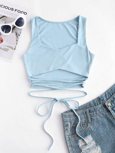 Tied Solid Crop Tank Top - Blue M