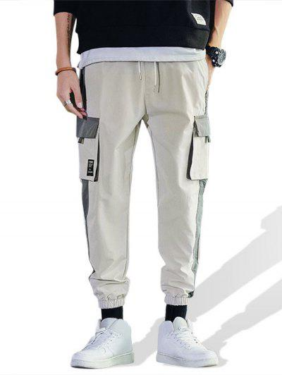 Casual Color Spliced Pocket Cargo Pants - Warm White Xs