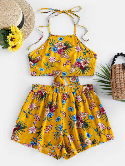 ZAFUL Flower Halter Backless Knot Two Piece Set - Bee Yellow S