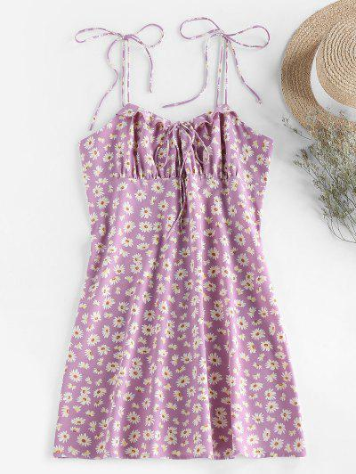 ZAFUL Daisy Print Tie Shoulder Ruffle Mini Dress - Mauve S