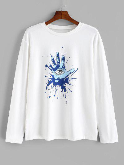 Hand Eye Printed Long Sleeves T-shirt - White 2xl