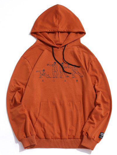 Character Chinese Printed Pocket Hoodie - Orange L