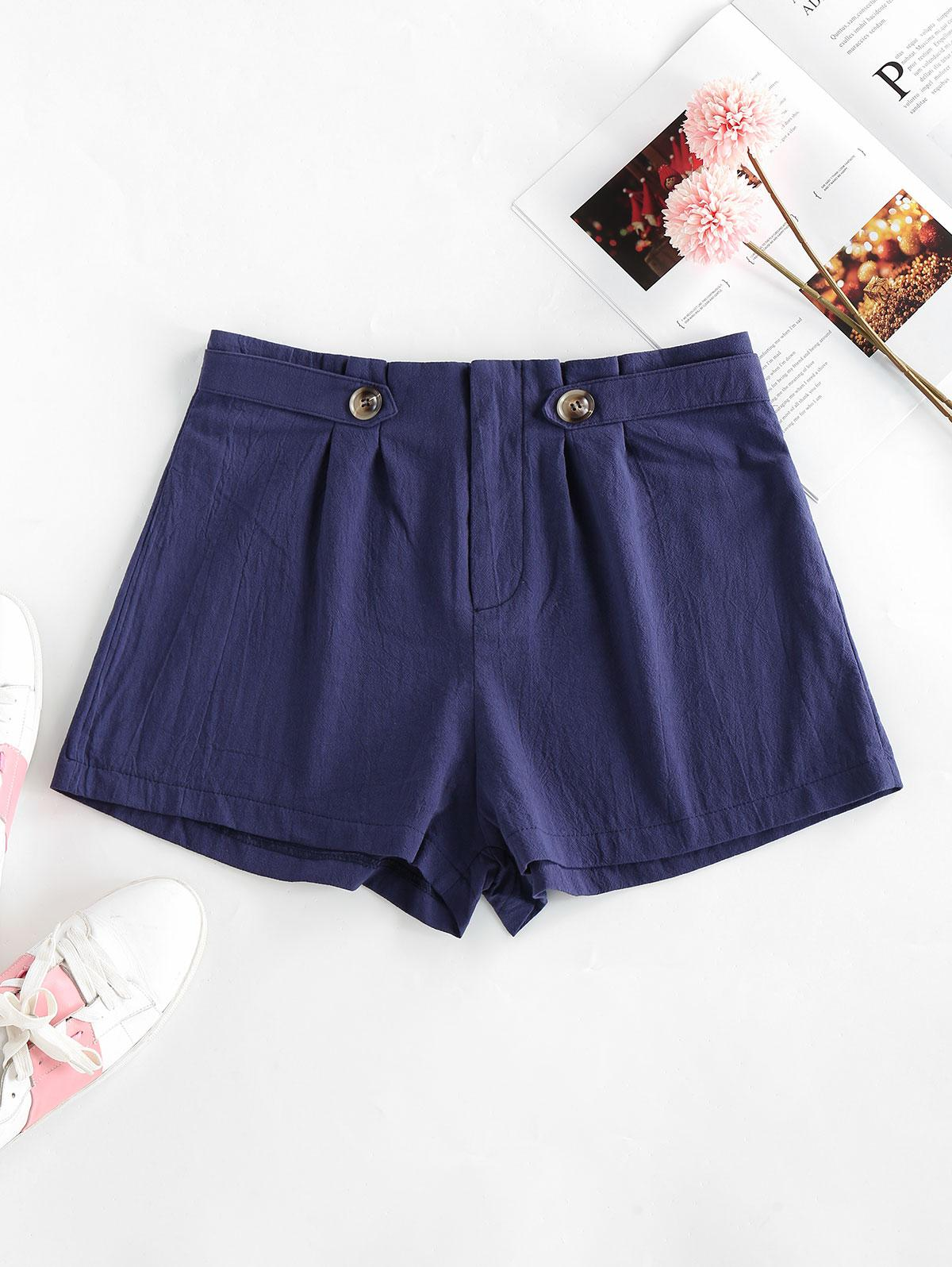 ZAFUL Pleated-detail Cotton Shorts