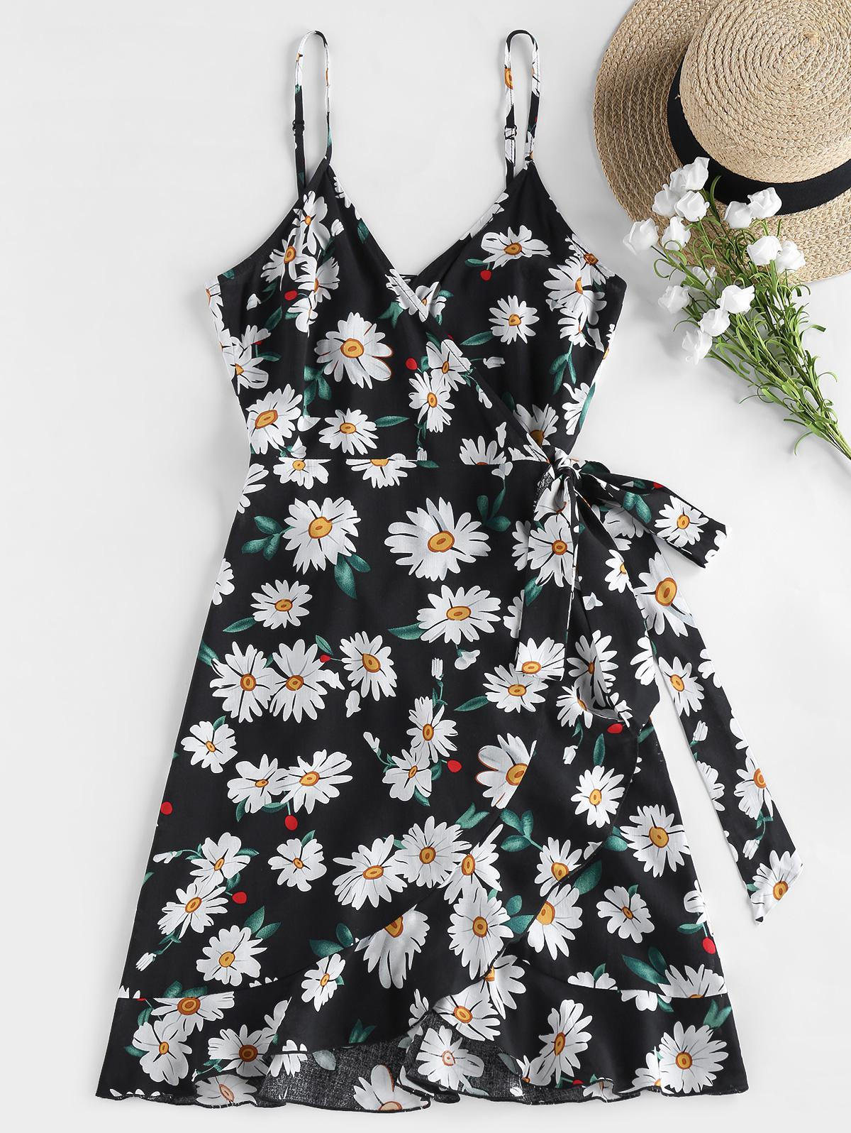 ZAFUL Daisy Print Flounce Wrap Dress