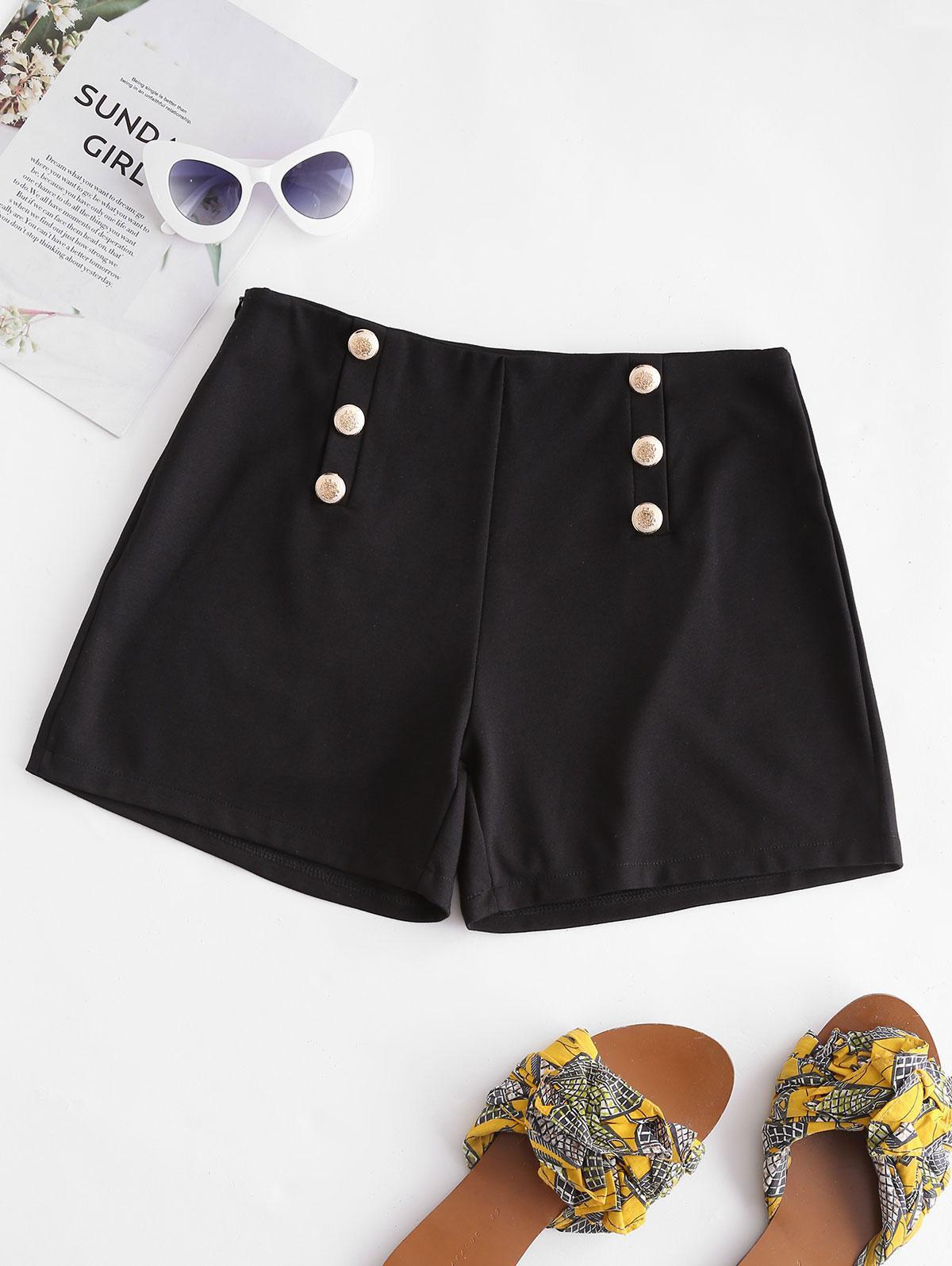 Mock Buttons Solid Zipper Shorts