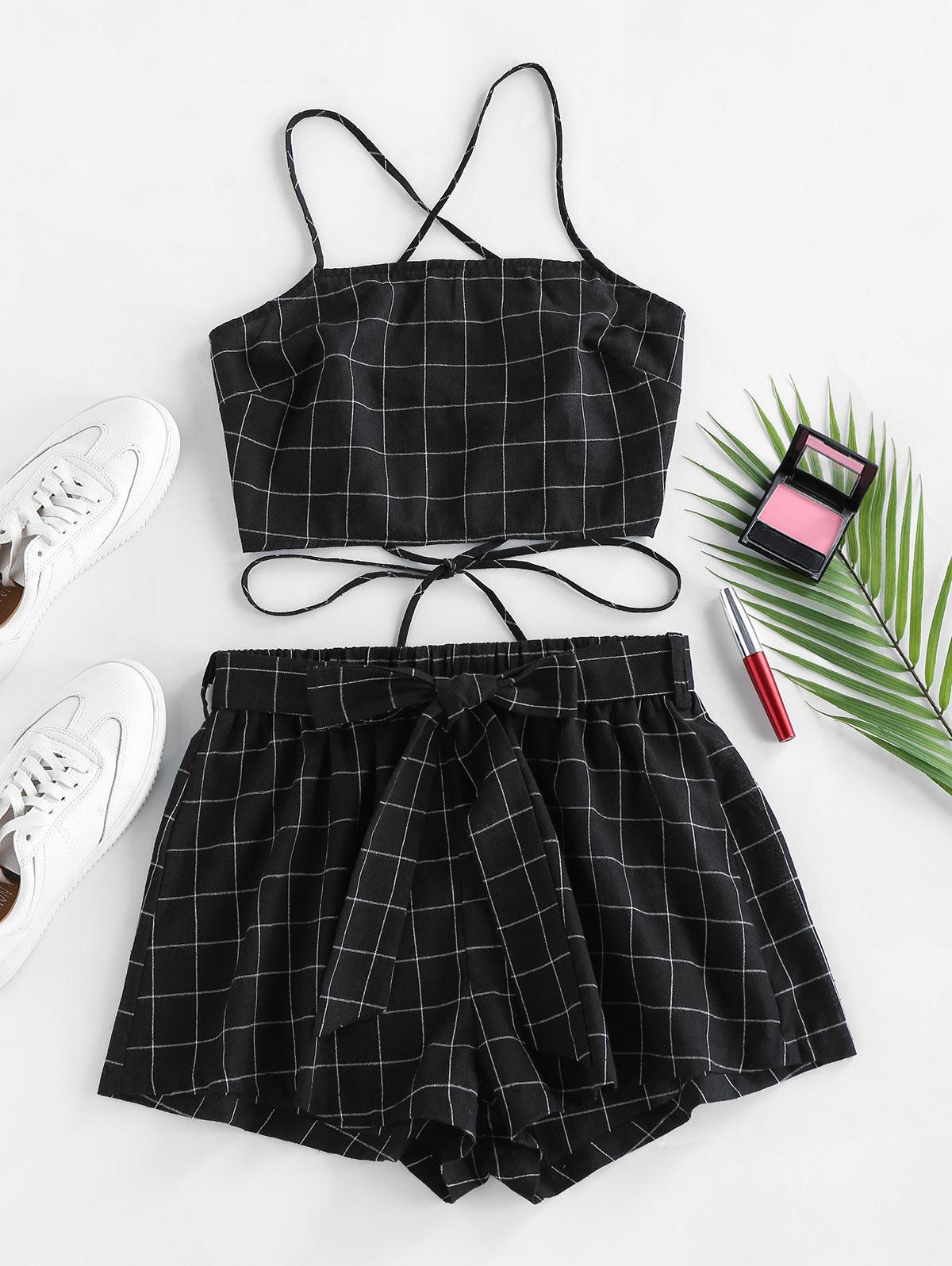 ZAFUL Grid Lace Up Belted Shorts Set
