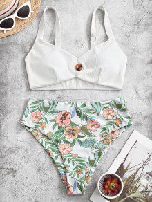 Floral Ribbed Tankini Swimwear