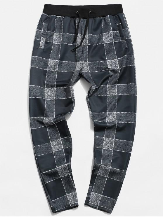 ladies Plaid Printed Casual Drawstring Pants - GRAY 3XL