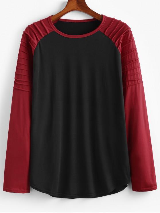 ladies Color Blocking Splicing Pleated Raglan Sleeve T-shirt - BLACK XL