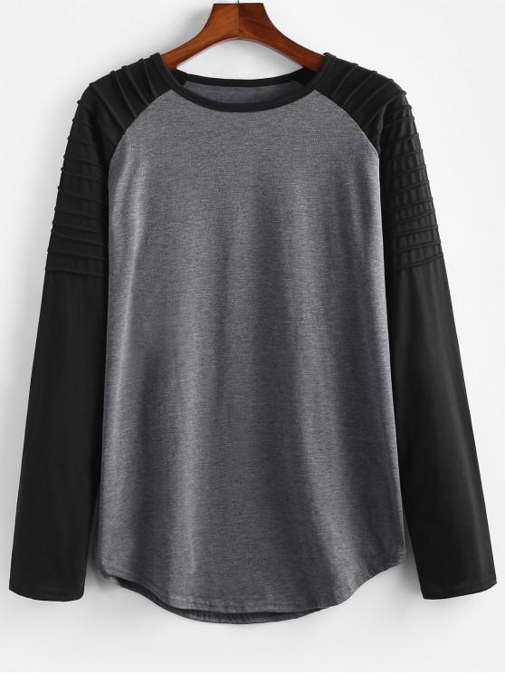new Color Blocking Splicing Pleated Raglan Sleeve T-shirt - DARK GRAY XL