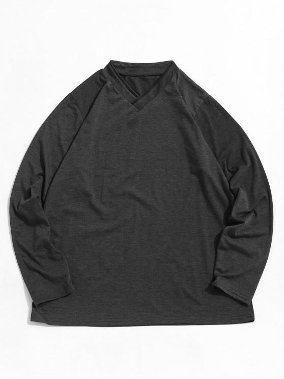 women's Long Sleeve Solid Casual Tee - DARK GRAY 3XL