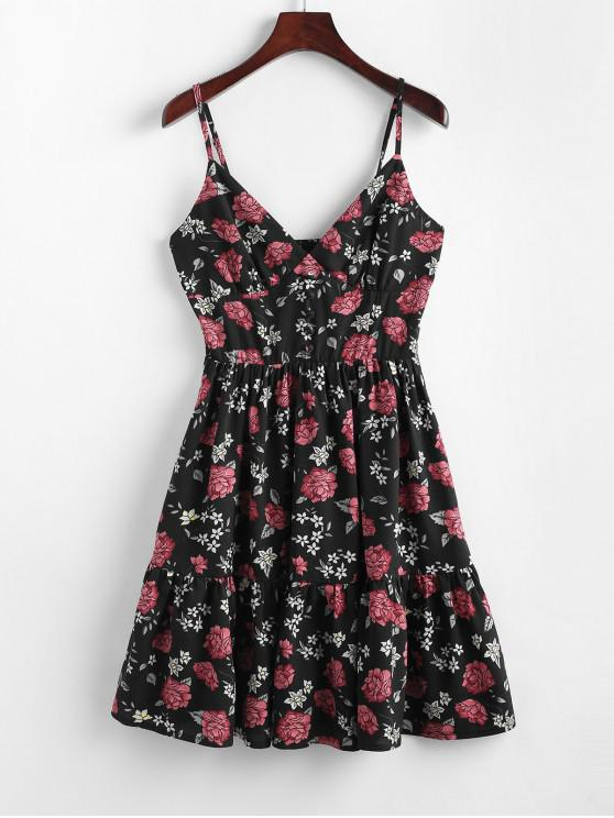 outfits ZAFUL Floral Smocked Flounce Cami Dress - BLACK M