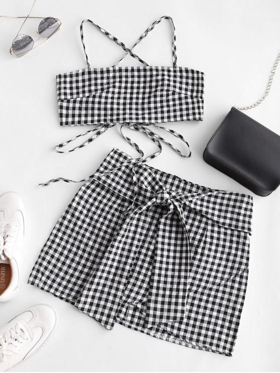 fashion Gingham Knotted Cami Two Piece Suit - MULTI-A XL