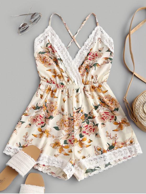 lady Lace Panel Floral Backless Cami Romper - MULTI-A L
