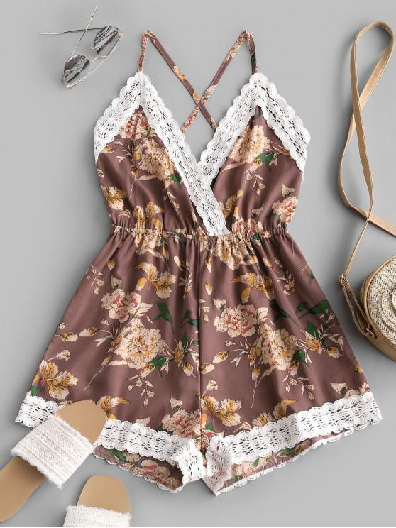 Lace Panel Floral Backless Cami Romper - متعددة D S