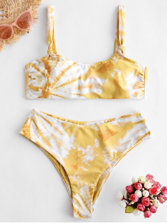 affordable ZAFUL Tie Dye High Leg Scoop Neck Bikini Swimsuit - MULTI-B S