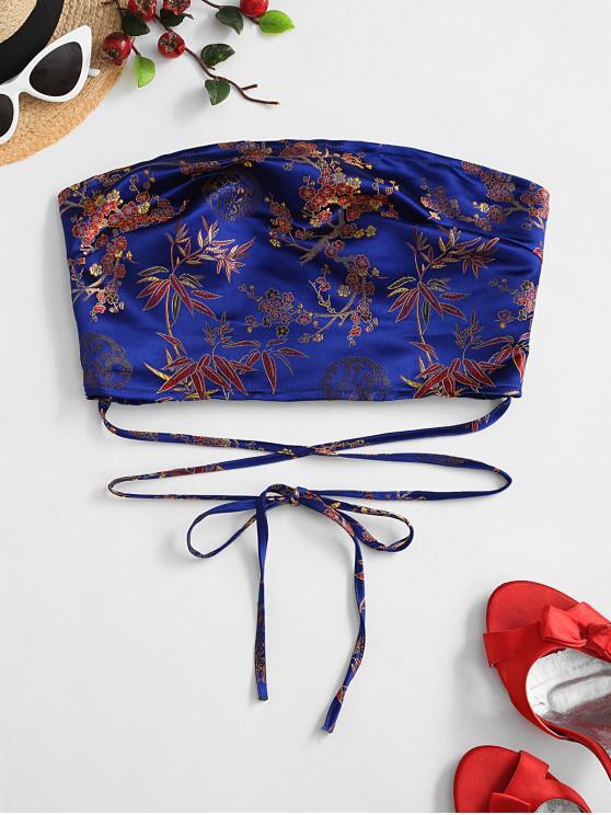 affordable ZAFUL Flower Jacquard Smocked Tie Bandeau Top - BLUE L
