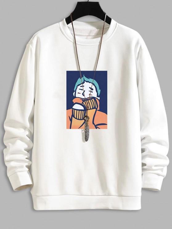 womens Cartoon Character Print Casual Sweatshirt - WHITE XS