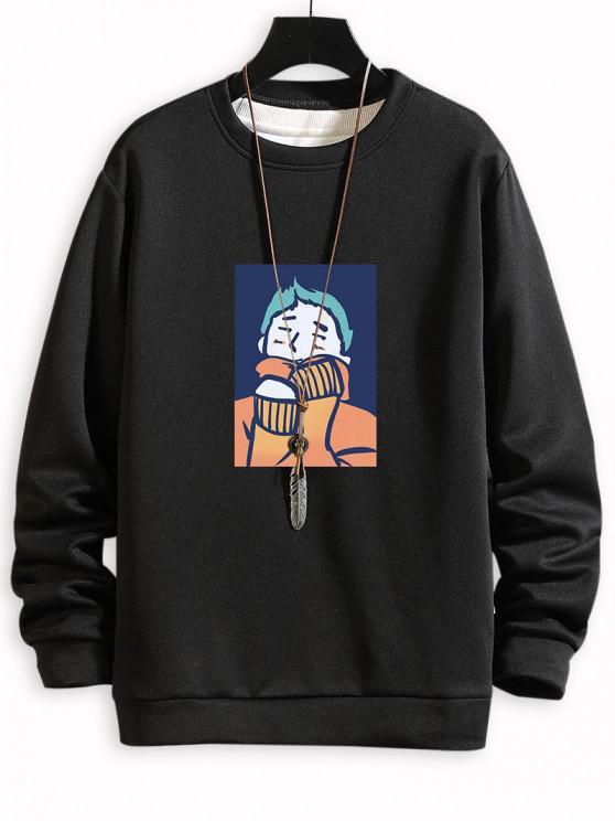Cartoon Character Print Casual Sweatshirt - أسود XL