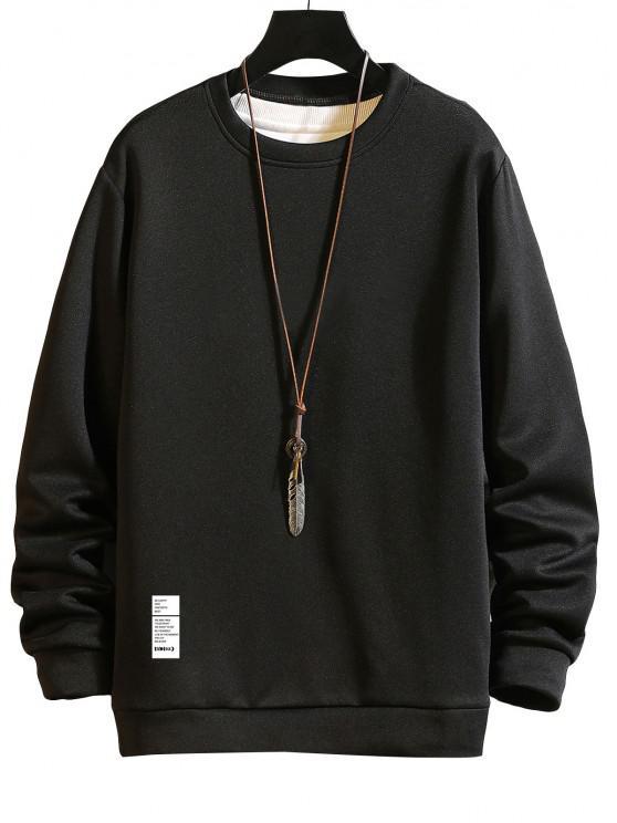 Sweatshirt mit Buchstabendruck und Rundhalsausschnitt - Schwarz M