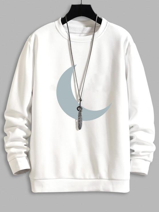 online Moon Print Round Neck Sweatshirt - WHITE XS