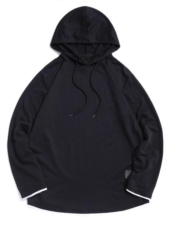 Contrast Hem Drawstring Casual Hooded T-shirt - أسود 2XL