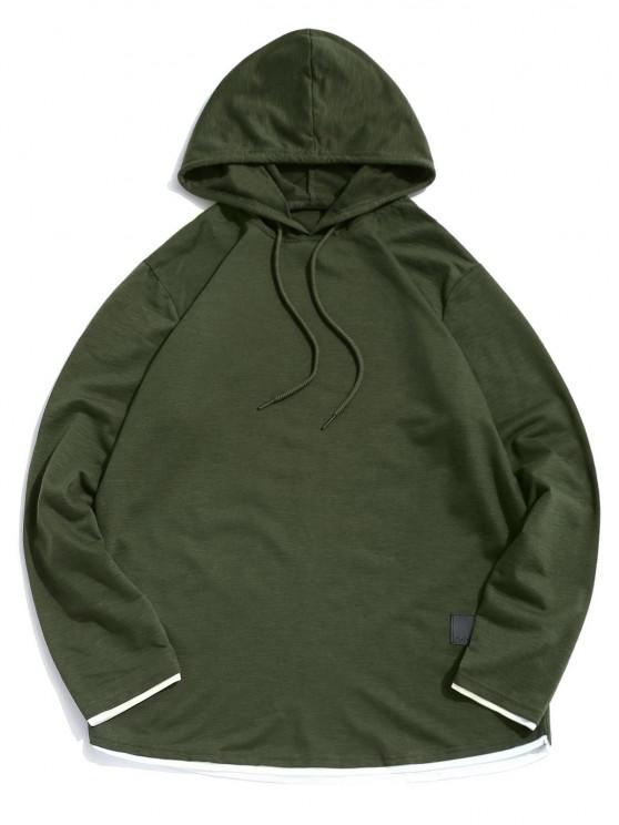 best Contrast Hem Drawstring Casual Hooded T-shirt - ARMY GREEN XL