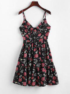 ZAFUL Floral Smocked Flounce Cami Dress - Black M