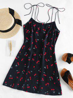 ZAFUL Cherry Print Tie Shoulder Mini Dress - Deep Blue Xl