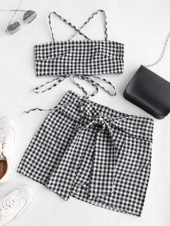 Gingham Knotted Cami Two Piece Suit - Multi-a S