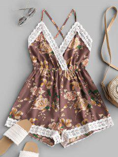 Lace Panel Floral Backless Cami Romper - Multi-d S