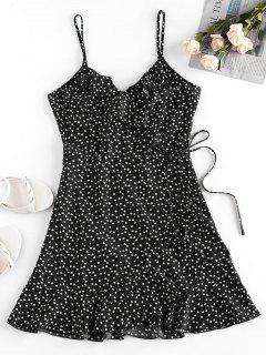 ZAFUL Heart Ruffle Cami Mini Dress - Black M