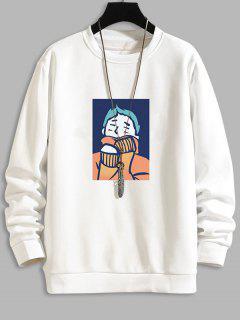 Cartoon Character Print Casual Sweatshirt - White Xl