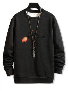 Fire Dinosaur Drawing Print Sweatshirt - Black Xs