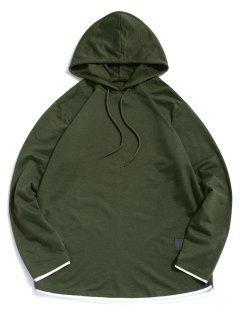 Contrast Hem Drawstring Casual Hooded T-shirt - Army Green L